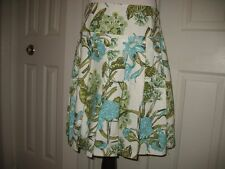 Ann Taylor Loft White Green Blue Floral Pleated Skirt Ladies Womens sz 12P