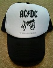 AC/DC snapback Mesh Cap Trucker Hat white black For Those About To Rock Cannon