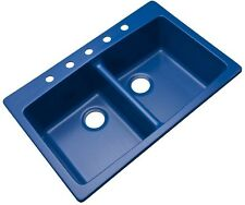 Double Bowl Kitchen Sink Cobalt Blue Dual Mount Composite Granite 33 In. 5-Hole