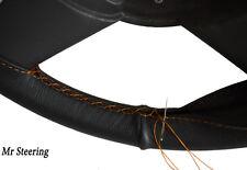 Se adapta a 93-99 Seat Ibiza Mk2 Real De Cuero Negro cubierta del volante puntadas de hilo naranja