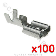 100 x HEAT RESISTANT HIGH TEMPERATURE ELECTRICAL SPADE TERMINAL CONNECTORS 6.3mm
