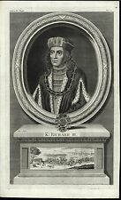 King Richard III of England House of York c.1735 antique engraved portrait print