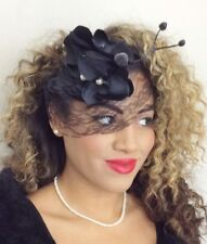 BLACK LACE VEIL NET ORCHID PEARL HAT FASCINATOR HEADPIECE VINTAGE COCKTAIL RACES