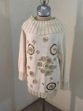 Victoria Harbour cute ugly Christmas sweater size L large white MANY gold beads