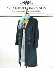 Women's VTG 70's Blue REAL SUEDE LEATHER Double Breasted Boho Trench Coat UK 12