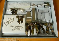 Wedding Ceremony Camo Deer Hunting Hunter (8) Piece Set Guest Book Glasses Pen