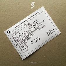 VEHICLE EXHAUST EMISSION SCHEMATIC DECAL, BMW 2002 sticker resto repro