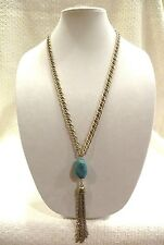 LUCKY BRAND LONG NECKLACE, LARGE TURQUOISE W/ MULTI GOLD CHAIN TASSEL, $49!  NWT