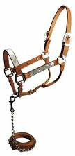 MEDIUM LEATHER AND SILVER WESTERN HORSE SHOW HALTER WITH MATCHING LEAD W/ CHAIN