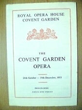 ROYAL OPERA COVENT GARDEN PROGRAMME 1953, 26th OCTOBER-19th DECEMBER
