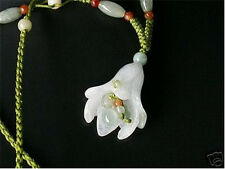 Delicate Adjustable Beaded Chain Jadeite Jade Trumpet Flower Pendant Necklace