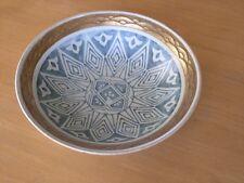 Antique Arita Japan Art Deco Sgraffito Blue & White Bowl with Raised Gilt Rim
