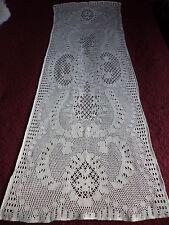 LONG  RIDEAU / BRISE VUE ANCIEN en filet avec motifs  / beige 48,5cm / 1m31