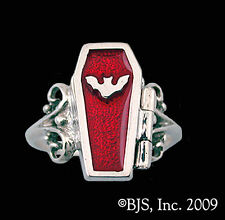 Silver Coffin Ring, Vampire Jewelry, Coffin Poison Ring, 15 Colors, Your Size