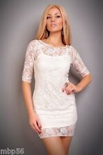 ROBE BLANCHE SOIREE LINGERIE SEXY GOWN DRESS 36 38 CLUB CLUBWEAR DISCO GOGO