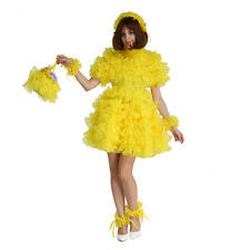 Sissy Girl Maid Lockable Yellow Organza Puffy Dress Uniform Crossdress Male XL