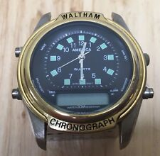 Vintage Waltham America Mens Analog Digital Dual Quartz Watch Hours~Parts Repair