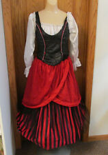 Sexy Hooped Dress Womens Halloween Costume Pirate Wench Gypsy Renaissance Small