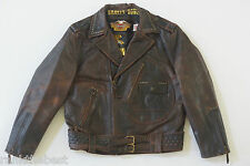 Harley Davidson Men's Brown Distressed Leather Vintage Jacket D-Pocket L Rare