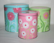 Metal Tin Ikea Floral Canisters  Nesting Tin Cans Set of 3 Pastel Green Pink