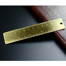 Vintage EDC Solid Brass Bookmark Ruler Pendant Pocket Key Ring Attachement 12cm