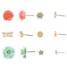 Lux Accessories Crystal Floral Flower Rose Bow Multiple Stud Earrings Set