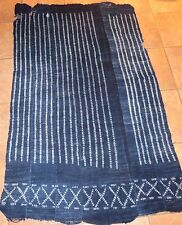 "Vintage African,Dogon Indigo Resist Dyed Fabric/Hand Woven Cotton Strips/60""x38"""