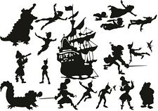 Die Cut Out Silhouette Peter Pan, Hook, Ship, Fairy 20 x set toppers, scrapbook