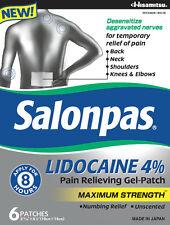 SALONPAS LIDOCAINE 4% PAIN RELIEF PATCHES 6CT (EXP 07/2019)