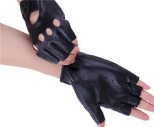 1 Pair Women's Leather Gloves Half Finger Stage Sports Cycling Driving Supply