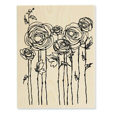 RANUNCULUS FIELD Rubber Stamp R112 Stampendous! LARGE Brand NEW! flowers floral