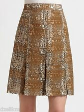 NWT $395 Tory Burch Wool Silk Pleated Printed Skirt Size 4
