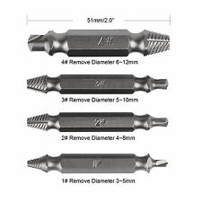 4PC X Screw Extractor Drill Bits Guide Set Broken Damaged Bolt Remover Speed Out
