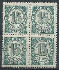 Spain 1938 Sc# 594 Numeral Granite paper block 4 MNH