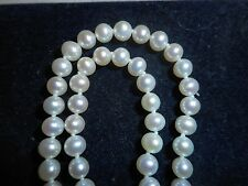"""14K Gold White Cultured 5mm Pearl 20"""" Necklace Choker knotted silk mint unused"""