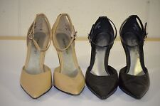 Lot of 2 Nine West Clyde 8 1/2 M Ankle Strap Pointy Toe Black & Tan Leather