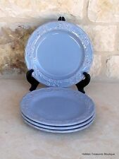 Home Hearthstone Blue 4 Salad Plates Hand-Painted Stoneware Holly Berries