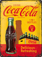 COCA COLA Blechschild 30x40 cm DRINK IN BOTTLES RETRO Schild Sign 23195