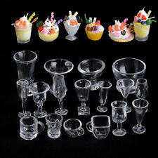 17Pcs New Creative Miniature Transparent Plastic IceCream Cake Cup Container Set