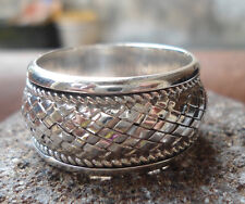 925 Sterling Silver-LH32-Bali Handcrafted Man's Spinner Ring Size 10