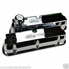 OEM NEW Ford Racing CHROME Aluminum Valve Covers, Breather SBF 302 351 289 281