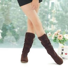 Women's Girls Winter Warm Snow Boots Suede Mid-calf Boots Flat Shoes Jackboots