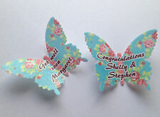 15 Personalised Vintage Floral Roses Wafer Paper Butterflies Cupcake Toppers