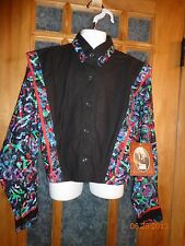 NEW! Mine & Bill's Outfitters Black/Multi Color Vintage Look Shirt Size Large