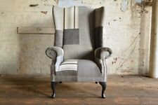 MODERN & UNIQUE GREY MIX FABRIC PATCHWORK HIGH BACK CHESTERFIELD WING CHAIR