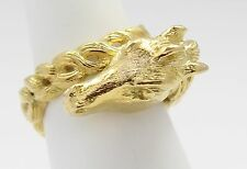 18k Yellow Gold Braided Look Horse Ring