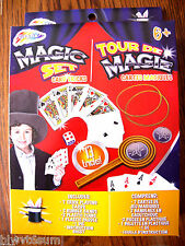 MAGIC SET CARD TRICKS-13 TRICKS-INC 7 PLAYING CARDS-PLASTIC COINS-PLASTIC PADDLE