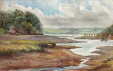 IMPRESSIONIST ESTUARY Watercolour Painting LOUISA PEARSE 1914