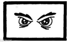"""ANGRY EYES EMBROIDERED PATCH 8 X 5CM (3"""" X 2"""")"""