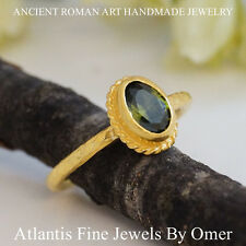 Oval Peridot Stacking Ring 925K Sterling Silver By Omer Handmade Ancient Jewelry